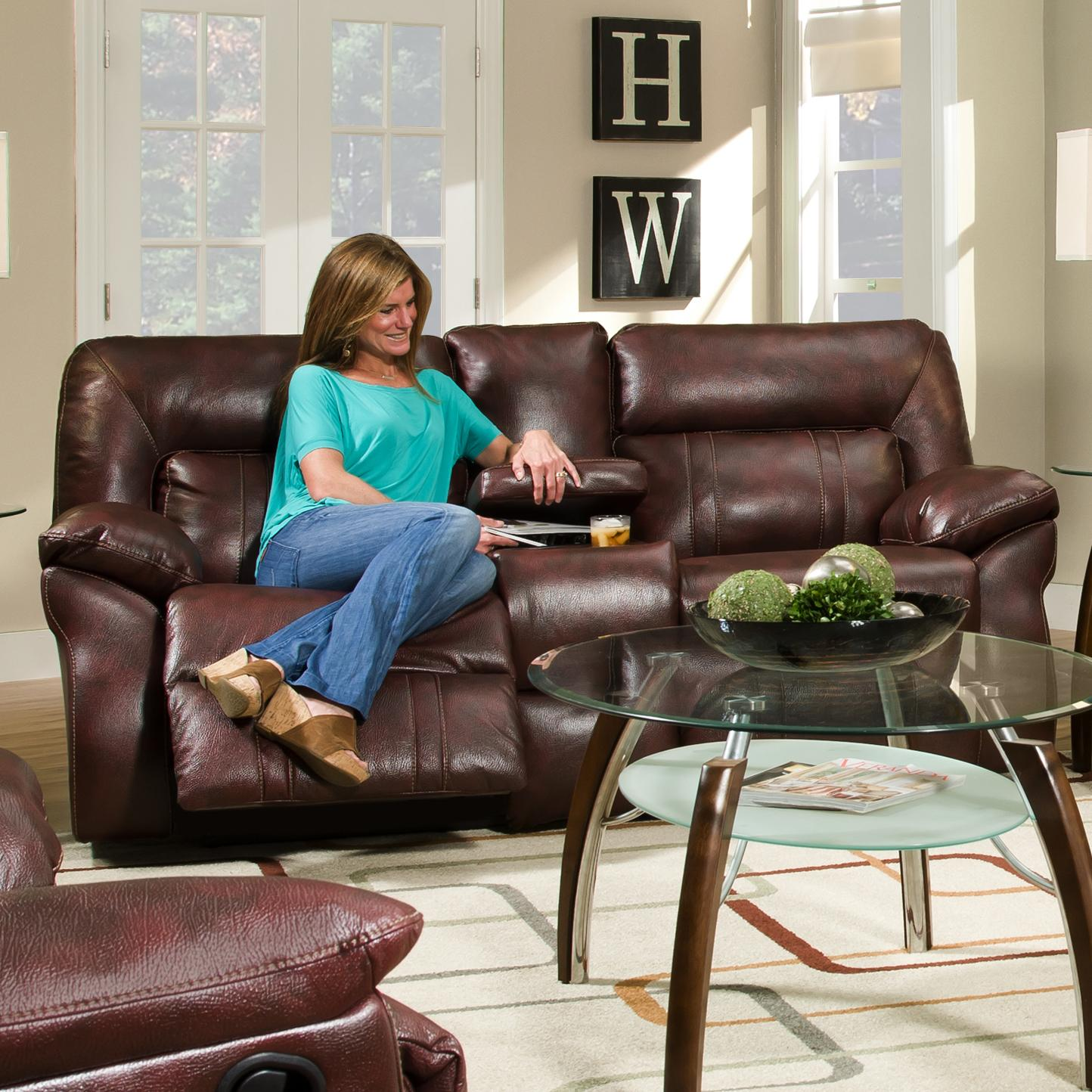 Southern Motion Cosmo Double Reclining Console Sofa - Item Number: 572-28