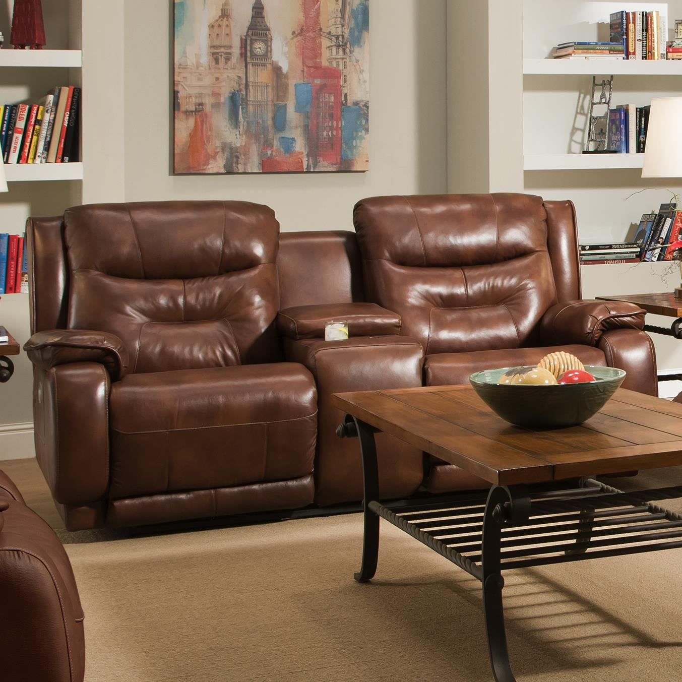 Southern Motion Crescent Reclining Console Sofa with Power Headrests - Item Number: 874-78P-906-21