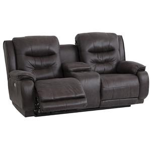 Southern Motion Crescent Reclining Console Sofa with Power Headrests