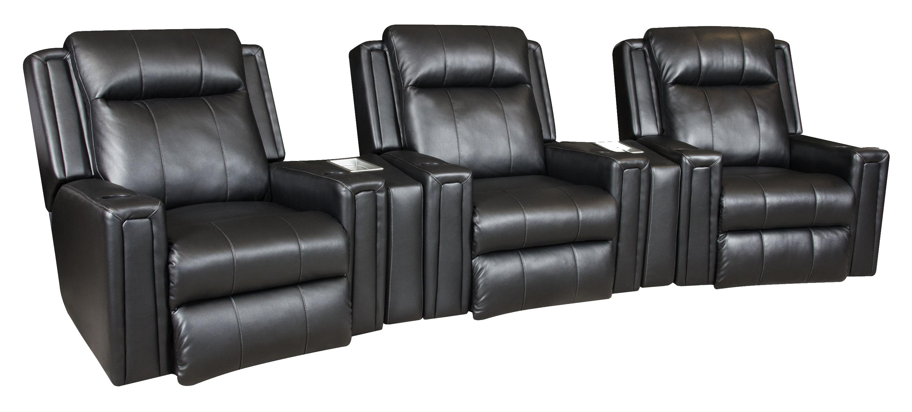 Southern Motion Curve Three Seat Movie Theater Seating Sectional - Item Number: 6858Px3+858-44x2-205-13