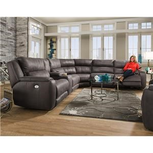 Southern Motion Dazzle Sectional w/ Cup Holders and Power Headrests