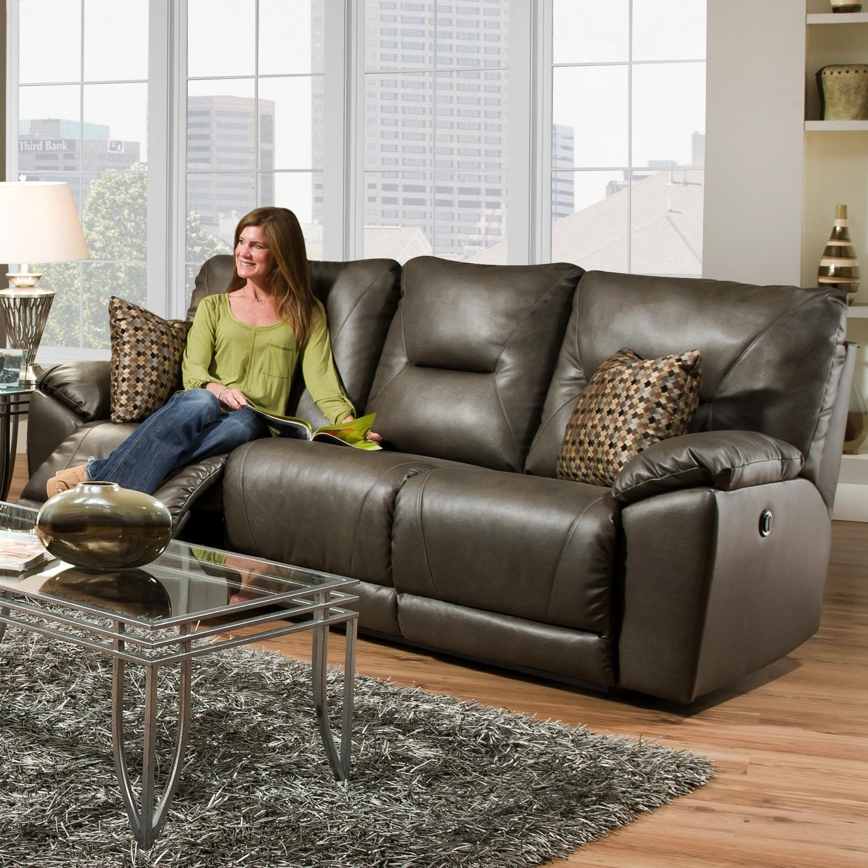 Southern Motion Dynamo Double Reclining Sofa with Pillows  - Item Number: 590-32