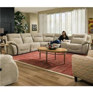 Southern Motion Eclipse 6 Piece Reclining Sectional with Power Headr