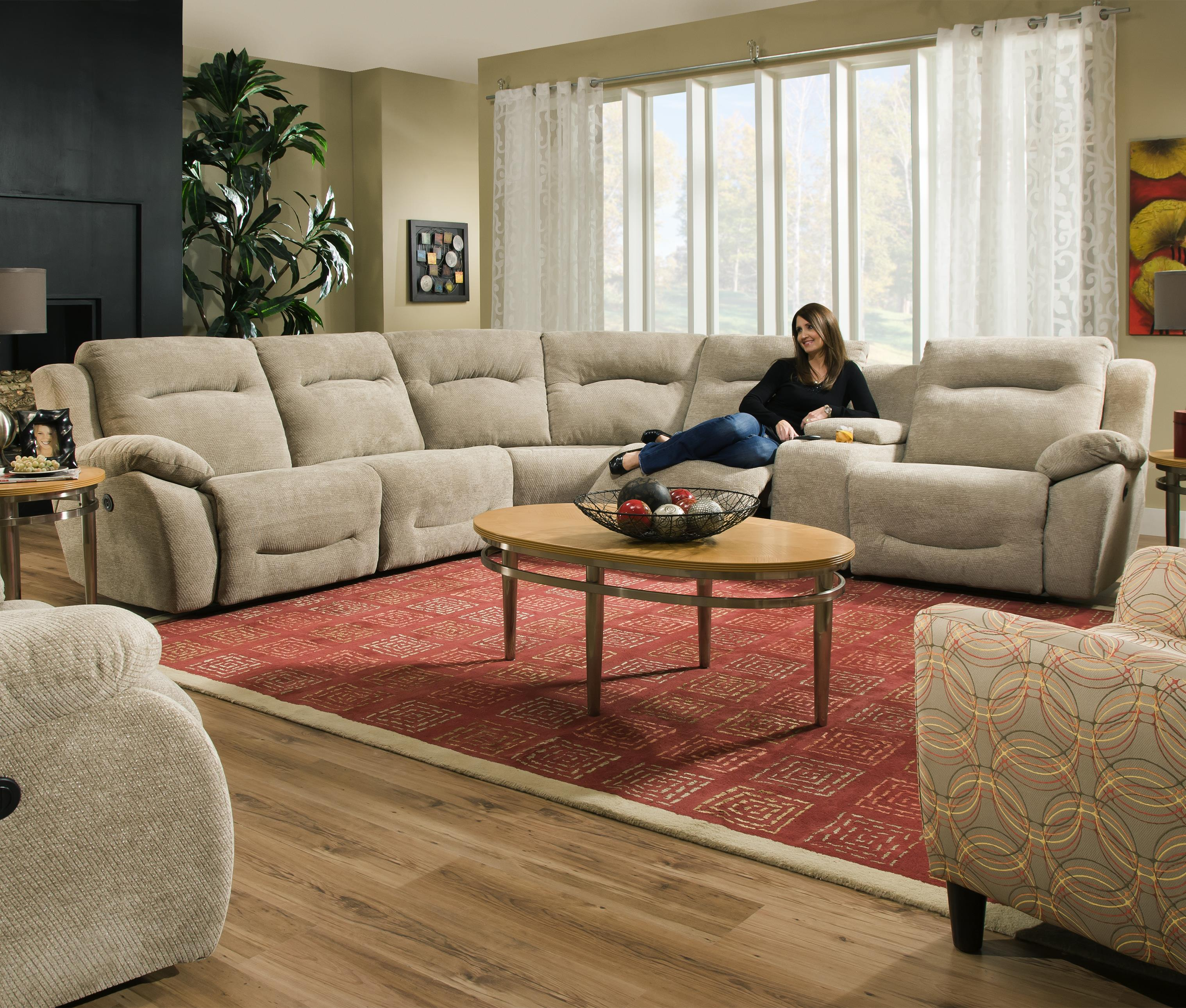 Southern Motion Eclipse Corner Shaped Reclining Sectional - Item Number: 566-07+92+84+92+47+08-231-15