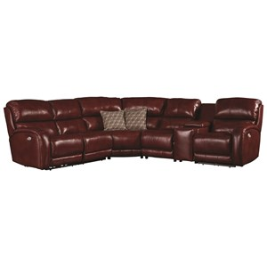 Casual Power Headrest Reclining Sofa with Console and Cup Holders