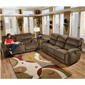 Southern Motion Fandango 884 Casual Console Sofa with Storage and Cup-Holders - Shown with Coordinating Three Seat Sofa. Console Sofa Shown May Not Represent Exact Features Indicated.