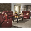 Southern Motion First Class - 718 Double Reclining Sofa with Pillows & Power Headrest