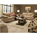 Southern Motion Gravity Double Reclining Console Sofa with Cup-Holders