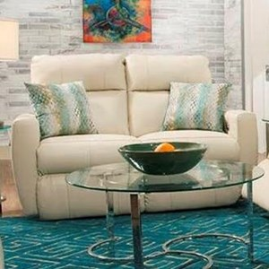Southern Motion Knock Out Reclining Loveseat w/ Pillows & Pwr Headrest