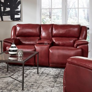Southern Motion Majestic Reclining Console Loveseat w/ Pwr Headrest