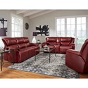 Southern Motion Majestic Double Reclining Sofa - Image shows power version of sofa. Non-power version may include recline handle instead of recline button.