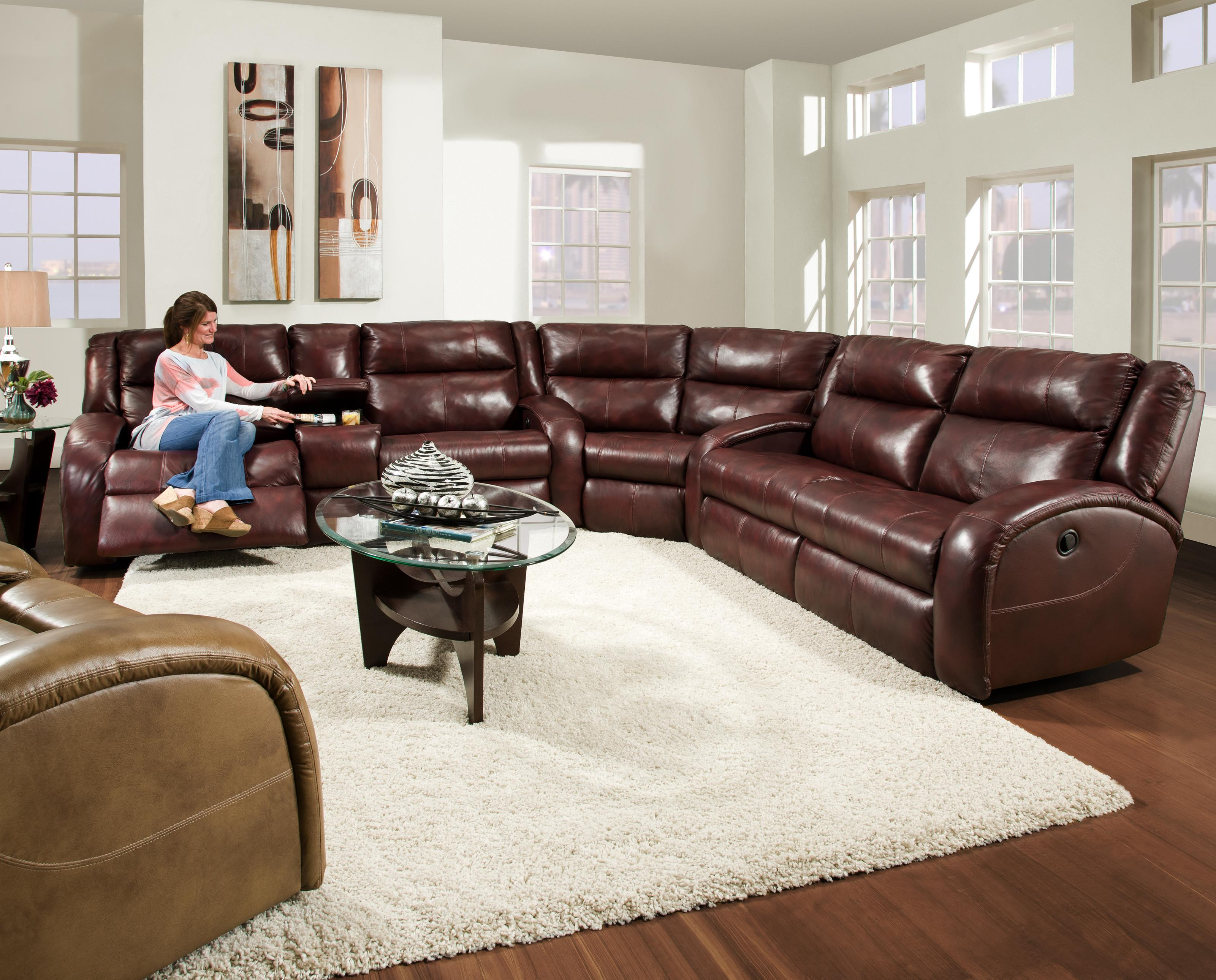 Southern Motion Maverick Reclining Sectional Sofa With