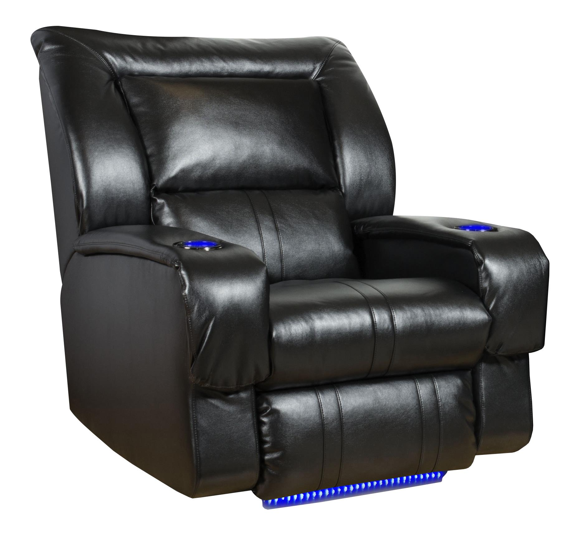 Lay-Flat Recliner w/ Lights & Cup-Holders