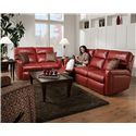 Southern Motion Savannah  Contemporary Styled Double Reclining Power Sofa for Family Rooms  - Shown with Coordinating Collection Loveseat. Sofa Shown May Not Represent Exact Features Indicated.