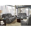 Southern Motion Showcase Double Reclining Sofa with Power Headrest and Drop Down Table