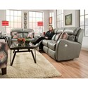Southern Motion Siri Double Reclining Sofa with Pillows - Style of Actual Recline Handle May Differ From What is Shown