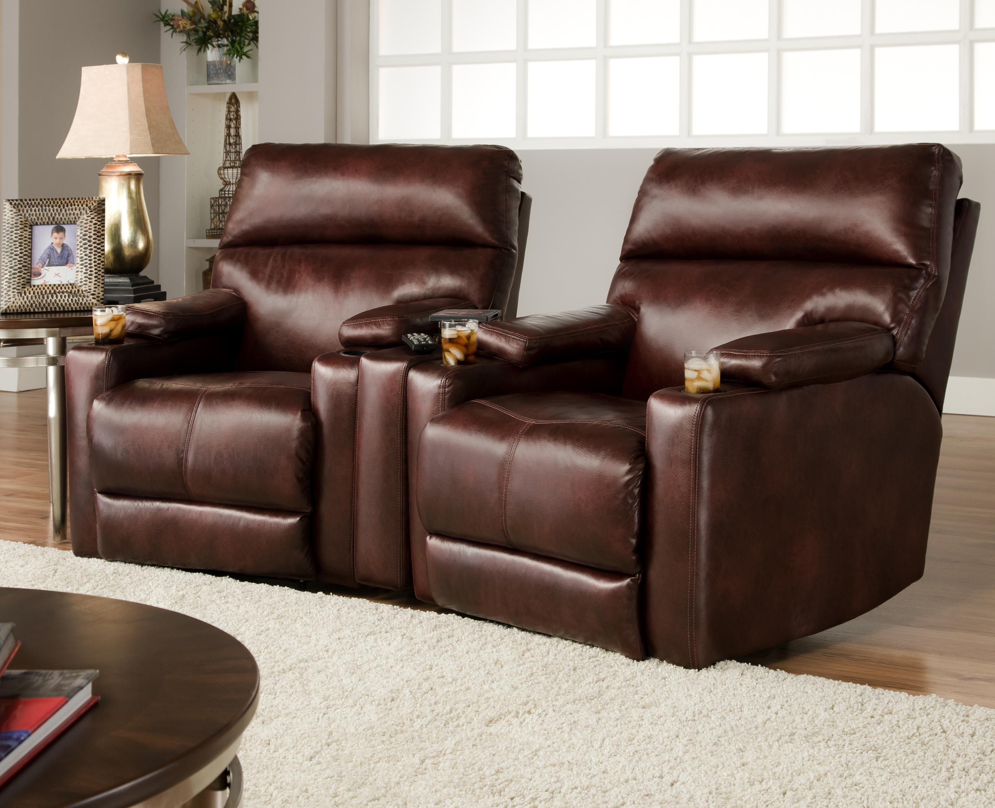 Theater Seating Group With 2 Lay Flat Recliners And Cup
