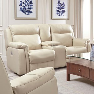 Southern Motion Uptown Reclining Console Sofa w/ Power Headrests