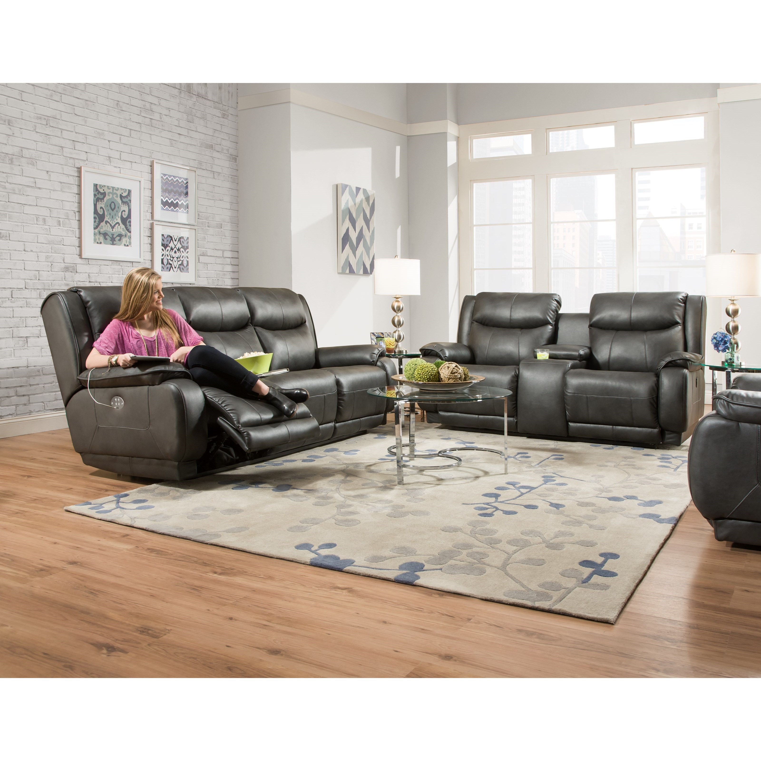 Southern Motion Velocity Double Reclining Sofa With Power Headrest Hudson 39 S Furniture