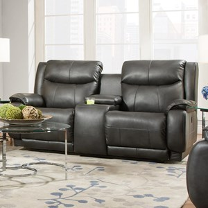 Southern Motion Velocity Reclining Console Sofa with Power Headrest