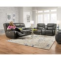 Southern Motion Velocity Double Reclining Console Sofa with <b>Power</b> Headrest