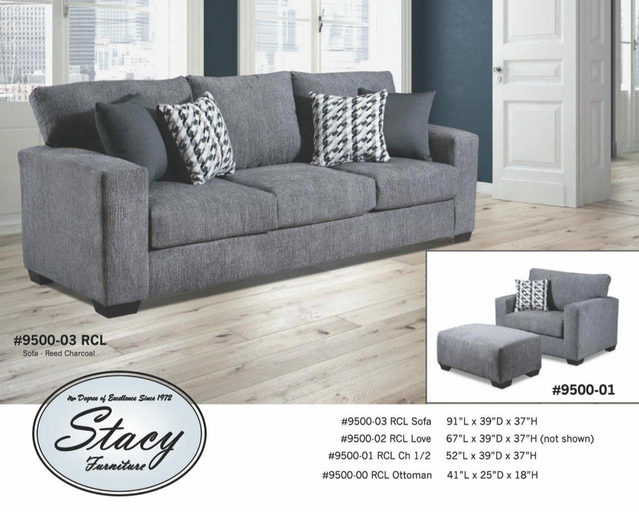 9500 Series Contemporary Track Arm Sofa by Stacy Manufacturing at Furniture and ApplianceMart