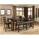 Standard Furniture Abaco Upholstered Counter Height Dining Bench - Shown with Dining Table & Chairs
