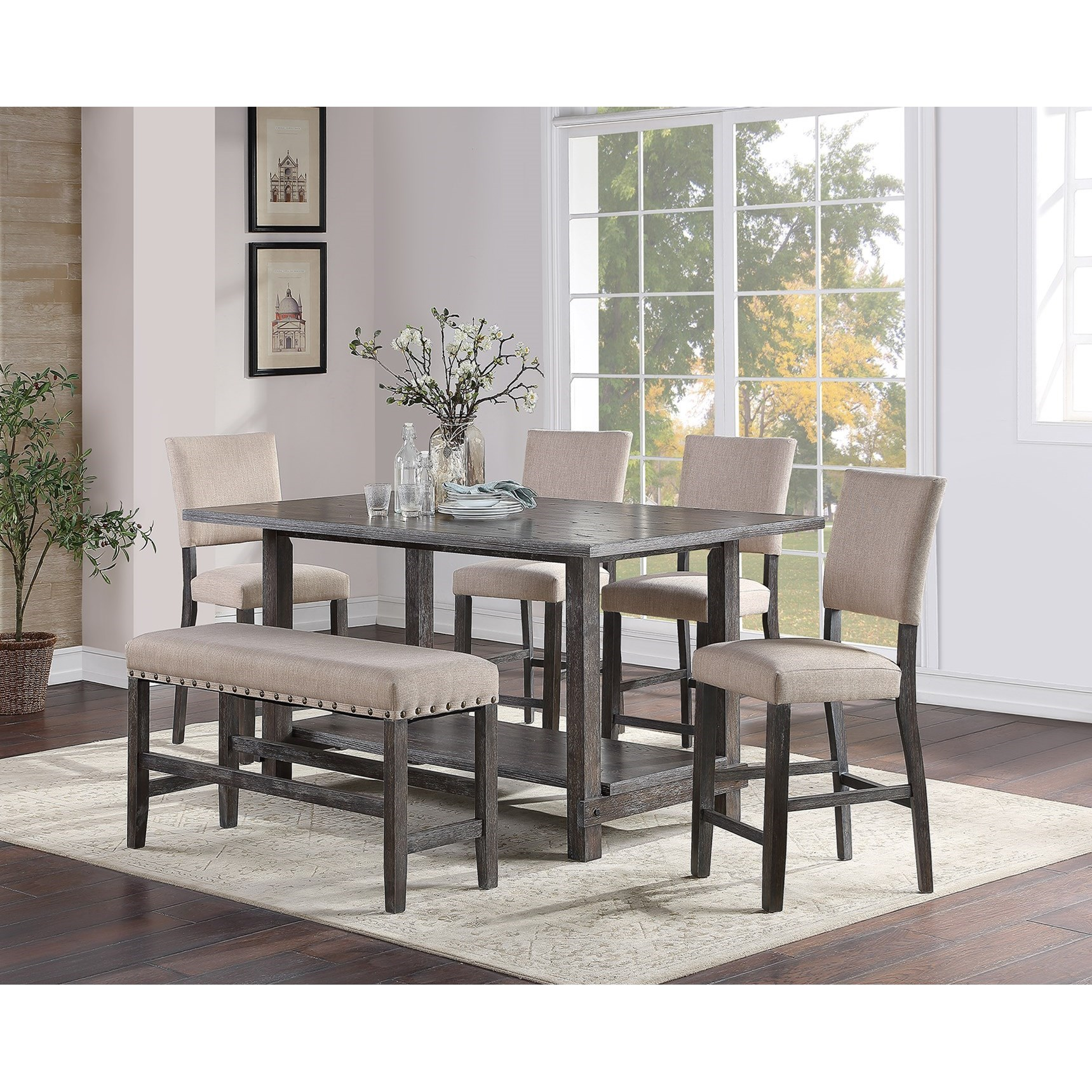 Aubrun Charcoal Counter Height Table and Chair Set by Standard Furniture at Beds N Stuff