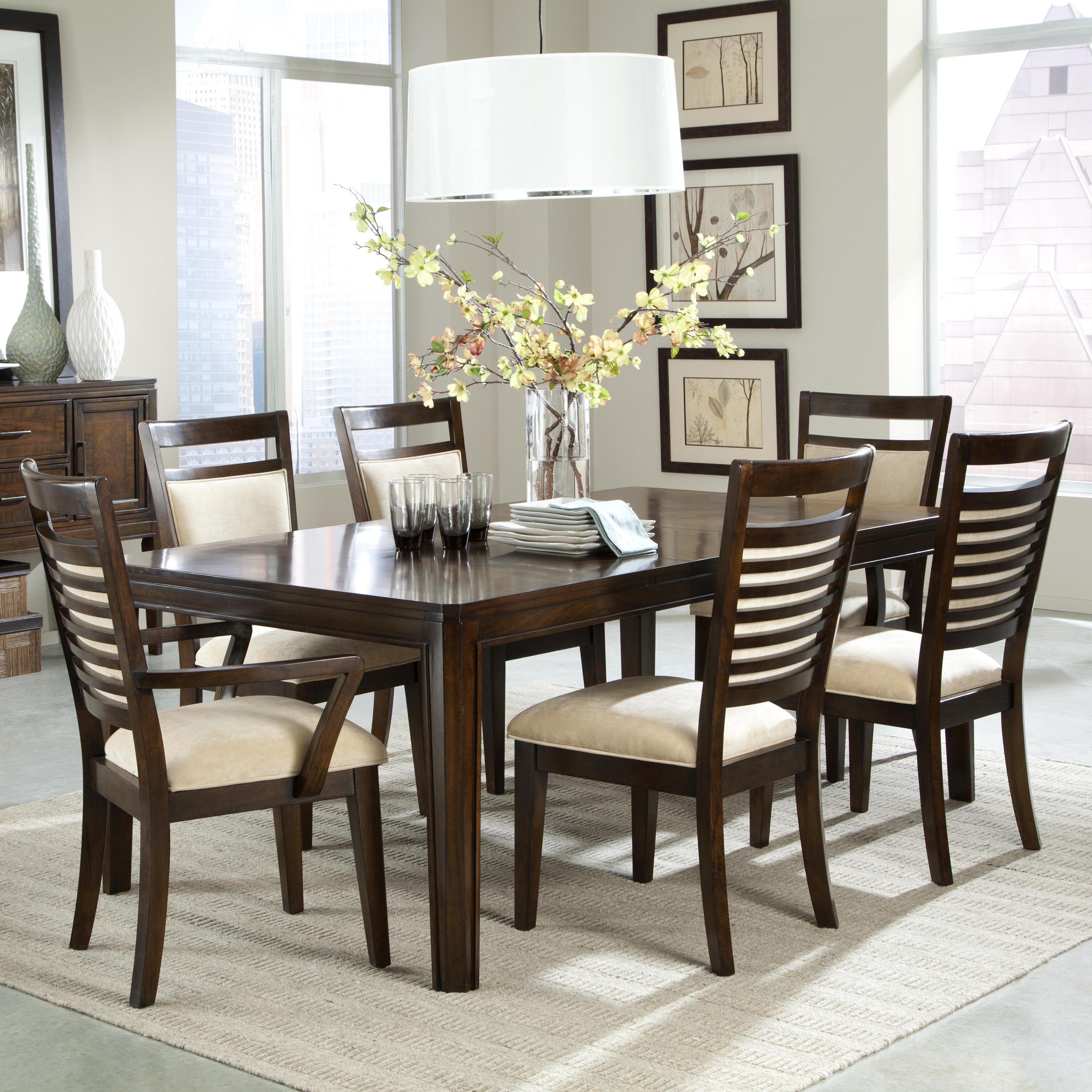 7 piece dining table set and upholstered chairs with for Dinner table and chairs set