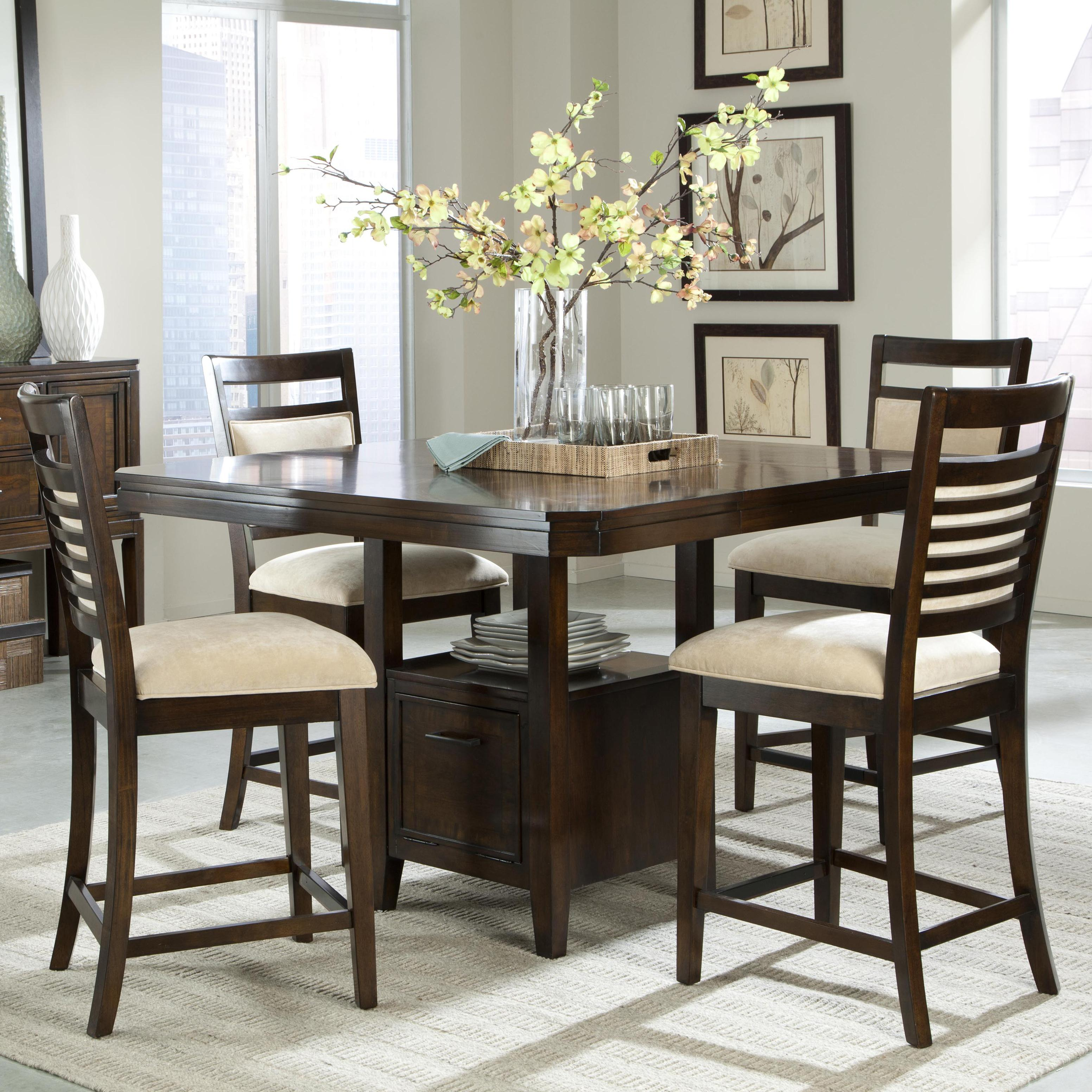 Standard Furniture Cambria Rectangular White Wood And: Standard Furniture Avion 5 Piece Counter Height Table Set