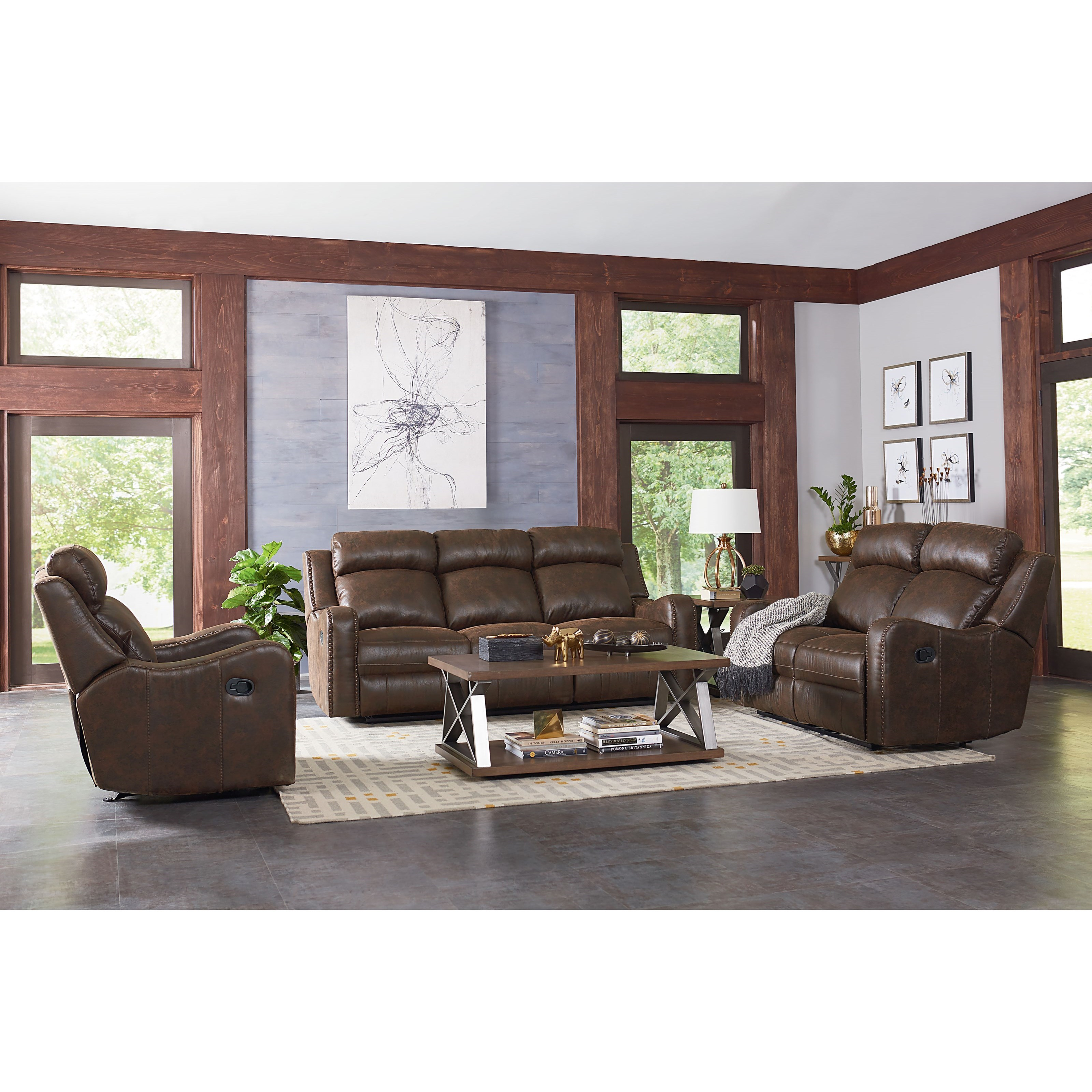 Standard Furniture Bankston Power Reclining Living Room Group - Item Number: 414800 Brown Power Reclining Group