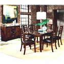 Standard Furniture Bella Rectangular Dining Table with Faux Marble Top - Shown with Server and Side Chairs