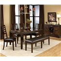 Standard Furniture Bella Upholstered Brown Bench - Shown with Dining Table, Buffet & Side Chairs