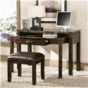 Standard Furniture Bella Desk & Entertainment Combination Piece with Power Plug & Faux Marble Top - Shown with Desk Stool