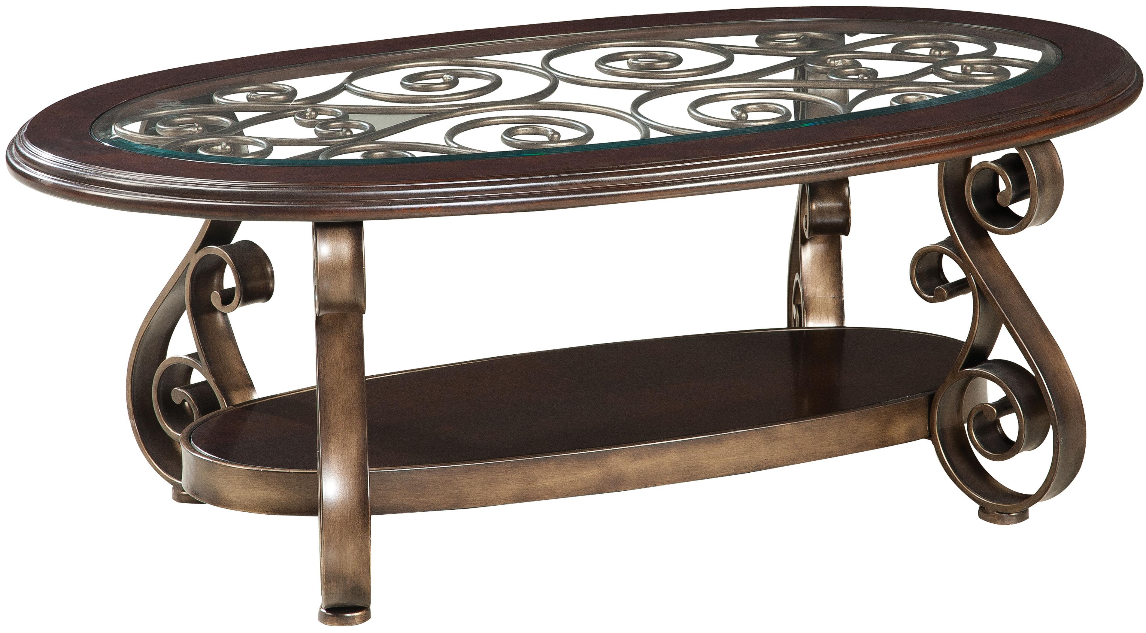 standard furniture bombay old world cocktail table with glass top