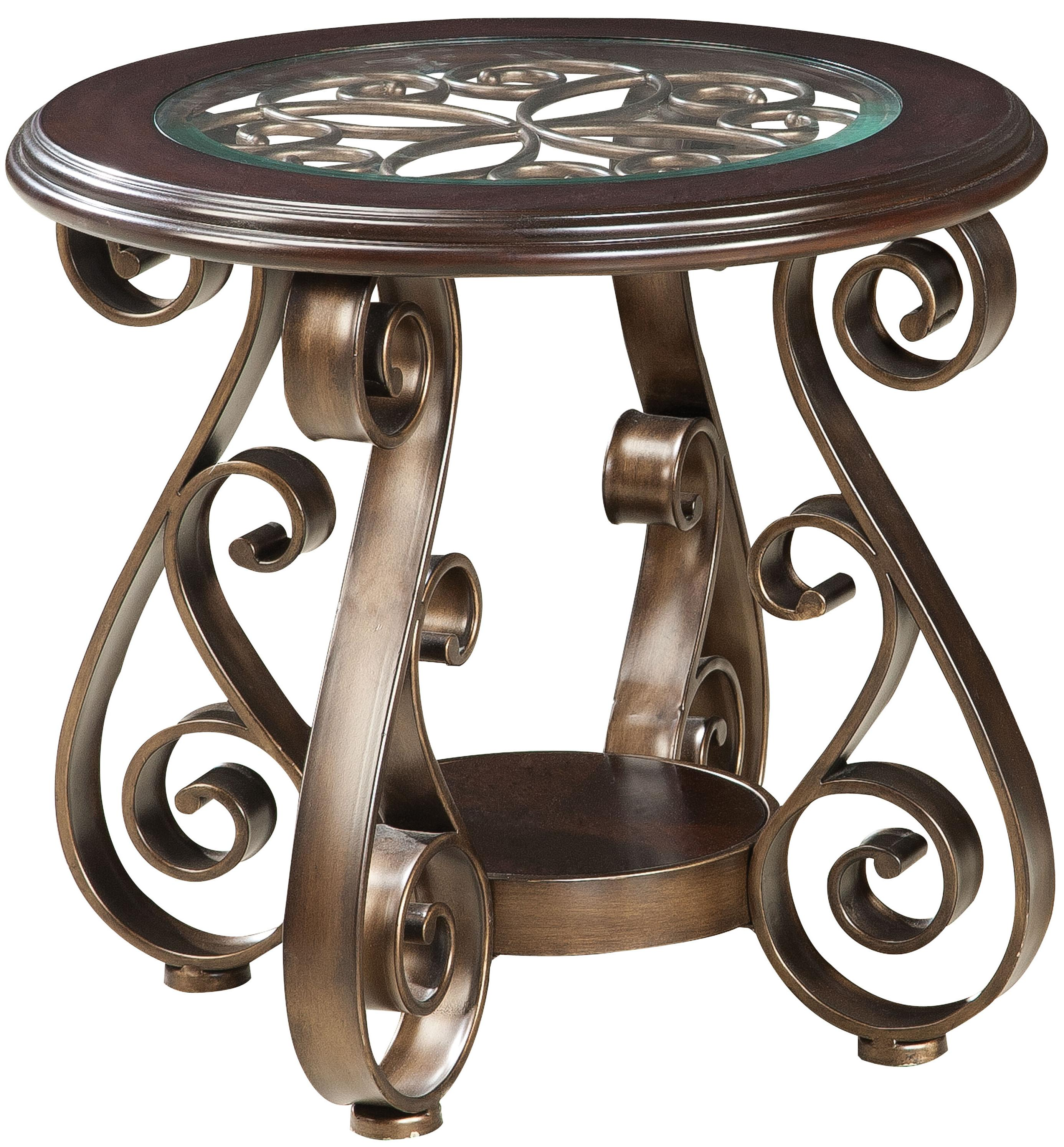 Scrolled metal and wood coffee table - Standard Furniture Bombay Old World End Table Item Number 21602