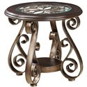 Standard Furniture Bombay Old World End Table with Glass Top and S-Scroll Legs