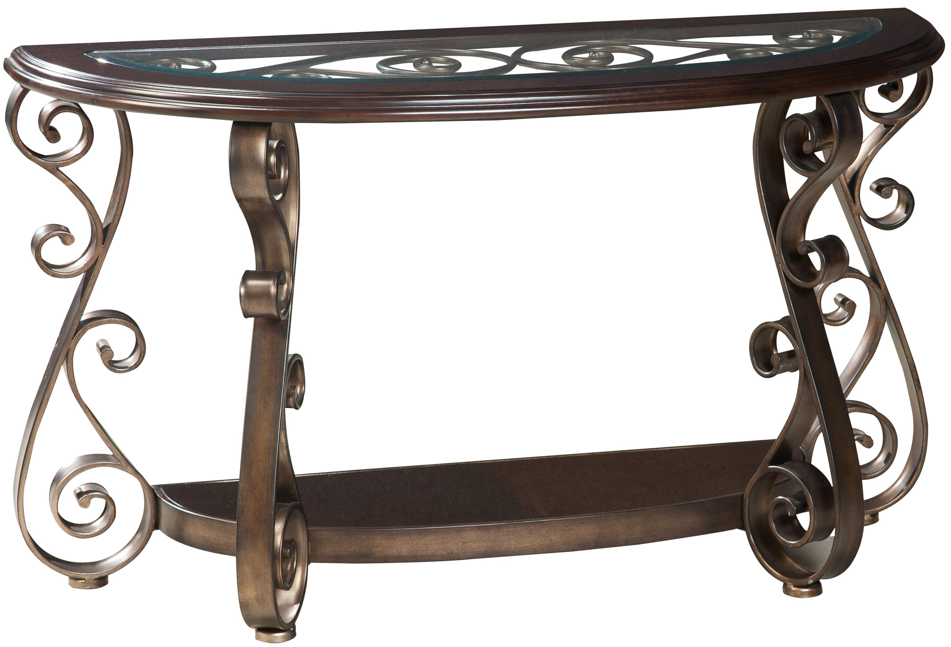 Standard Furniture Bombay Old World Sofa Table with Glass Top and