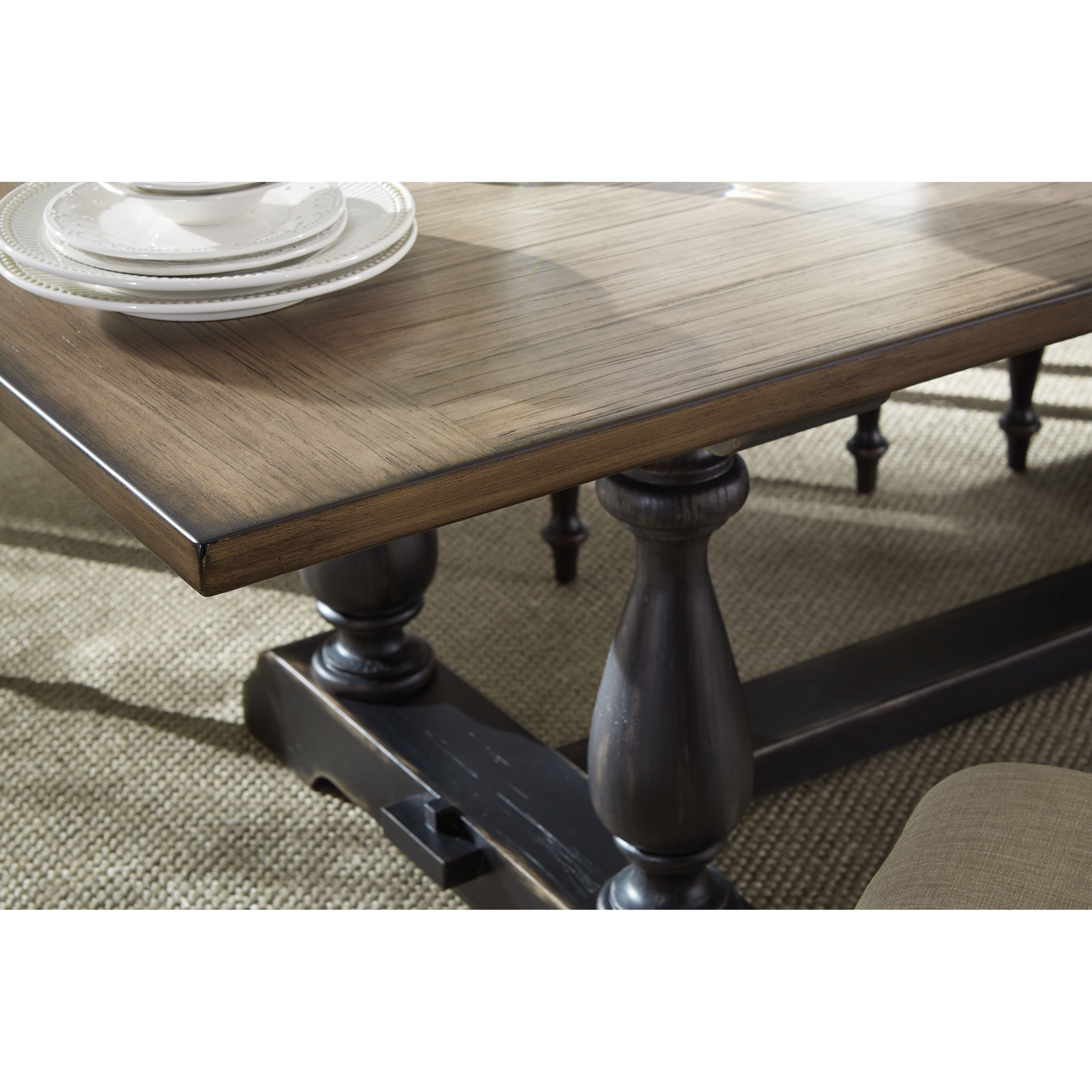 Standard Furniture Cambria Rectangular White Wood And: Standard Furniture Cambria Two-Tone Dining Table With