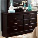 Standard Furniture Crossroads  Six Drawer Dresser & Panel Mirror Combination - Six Drawer Dresser
