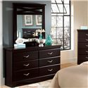 Standard Furniture Crossroads  Panel Mirror with Decorative Crossed Slats - Shown with Six Drawer Dresser