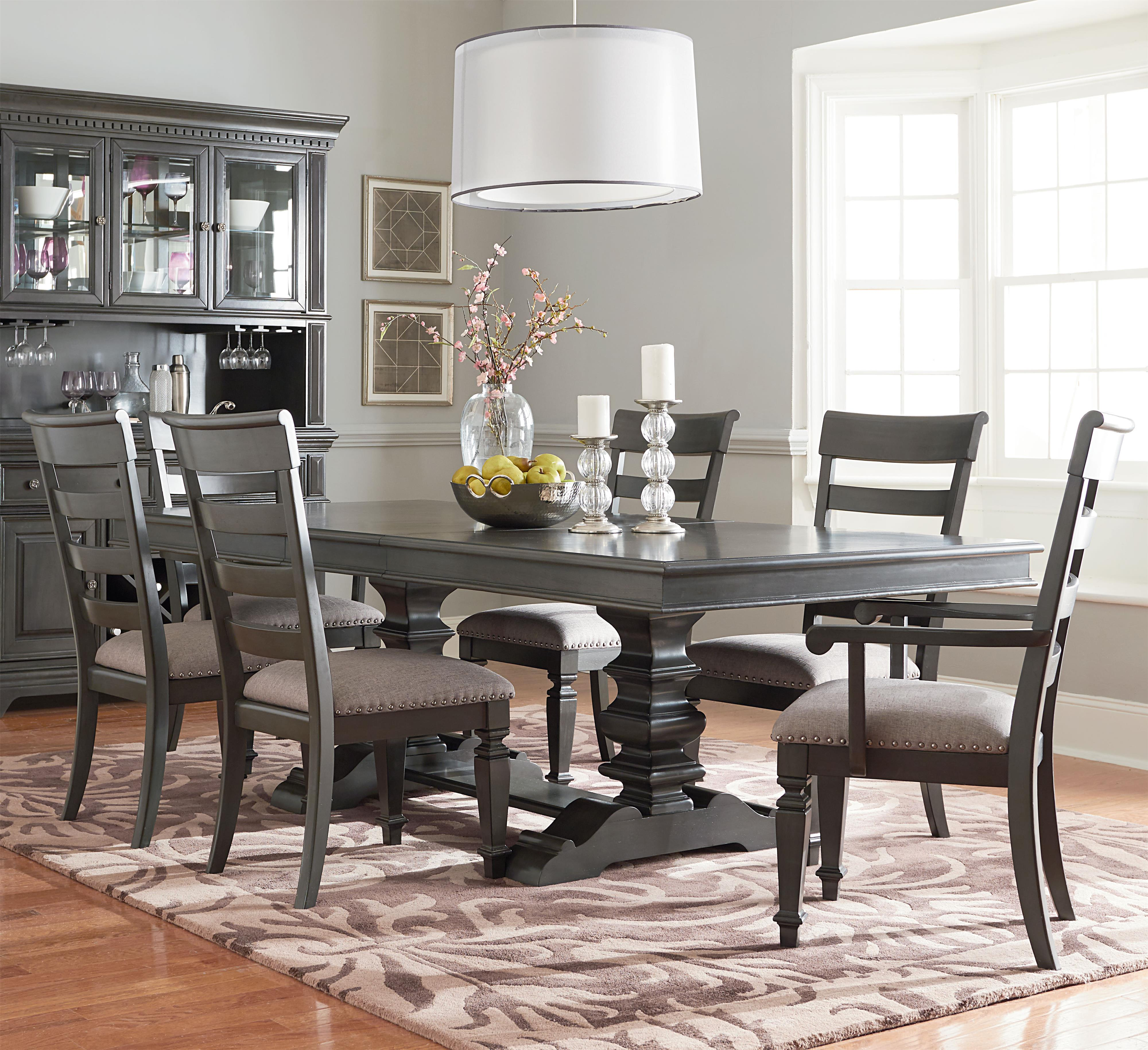 Standard Furniture Garrison Trestle Dining Table Set - Item Number 14906+2014906+2x05 & Standard Furniture Garrison Trestle Table Dining Set with Six Chairs ...