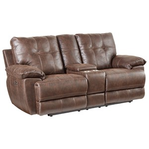 Loveseat,Manual Console -Brown