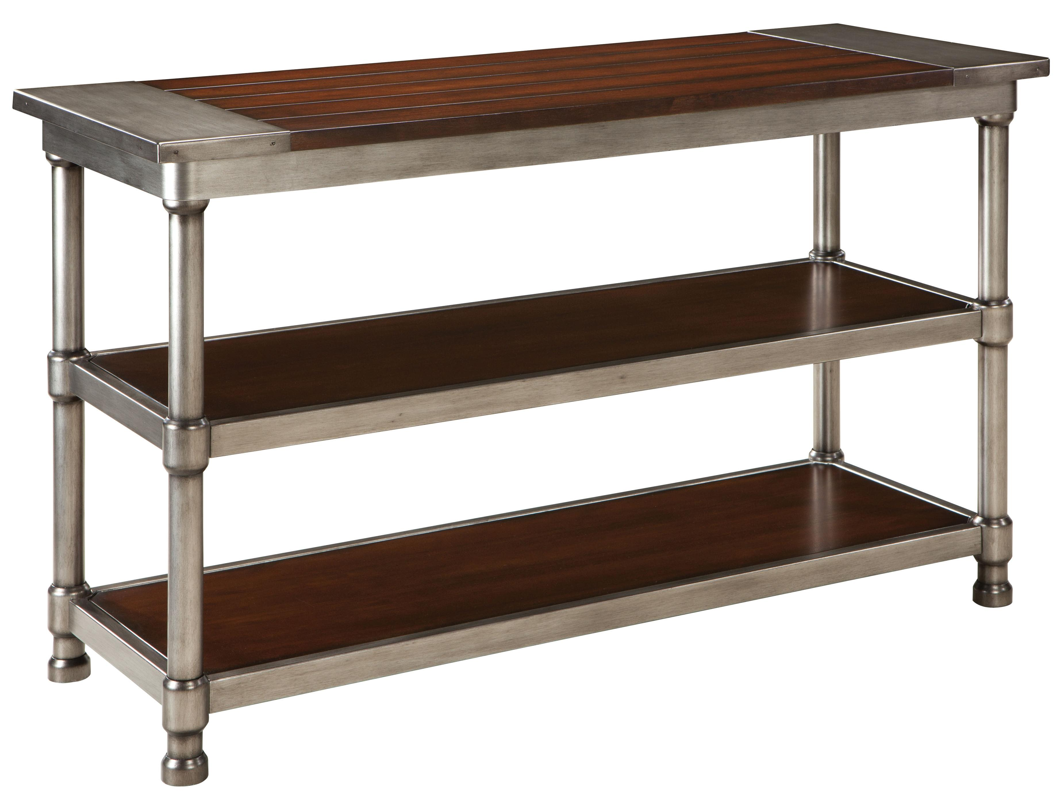 Contemporary 2 shelf console table with plank style wood Metal console table