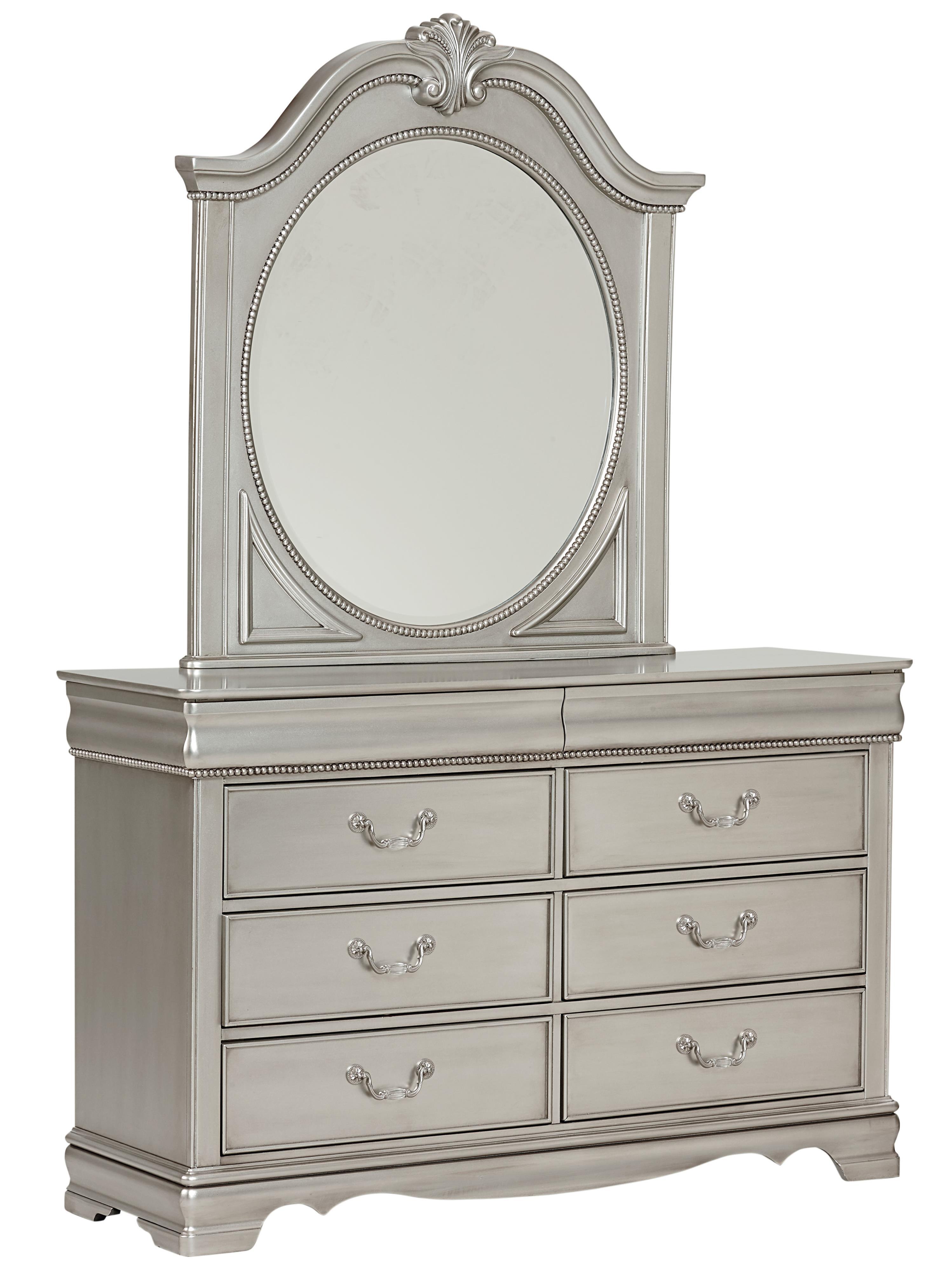 Standard Furniture Jessica Silver Dresser & Mirror - Item Number: 93558+9