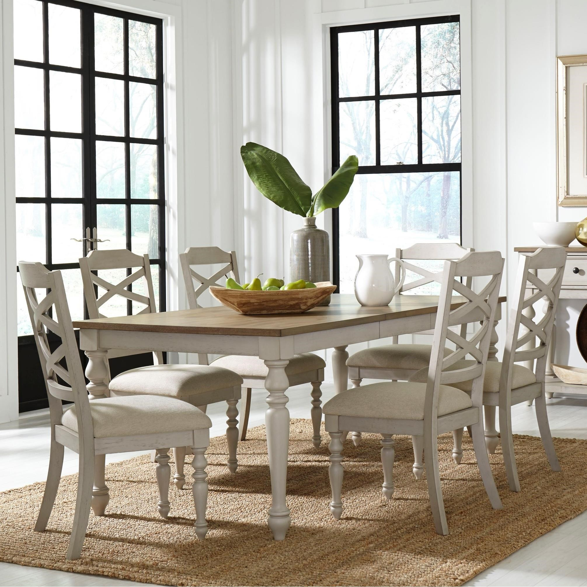 Standard Furniture Larson Light 7 Piece Table And Chair Set Royal Furniture Dining 7 Or More Piece Sets