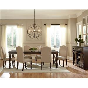 """Standard Furniture McGregor Dining Leg Table with 18"""" Leaf  & 6 Upholste"""