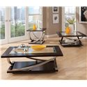 Standard Furniture Melrose Rectangular Glass Top Table with Convenient Casters - Shown in Room Setting