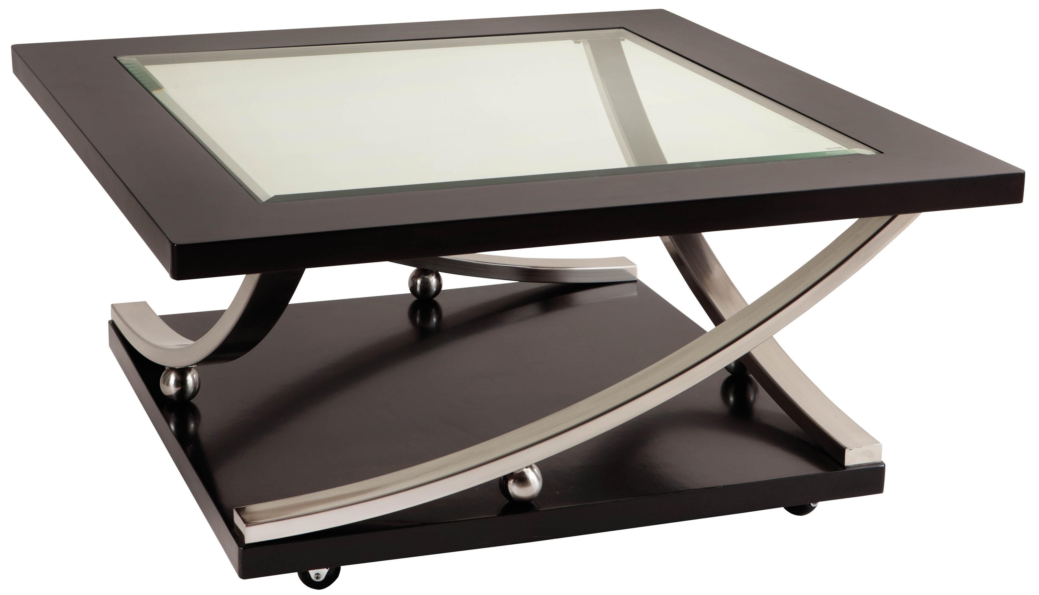 Melrose square glass top cocktail table with casters by standard furniture wolf furniture Collectors coffee table