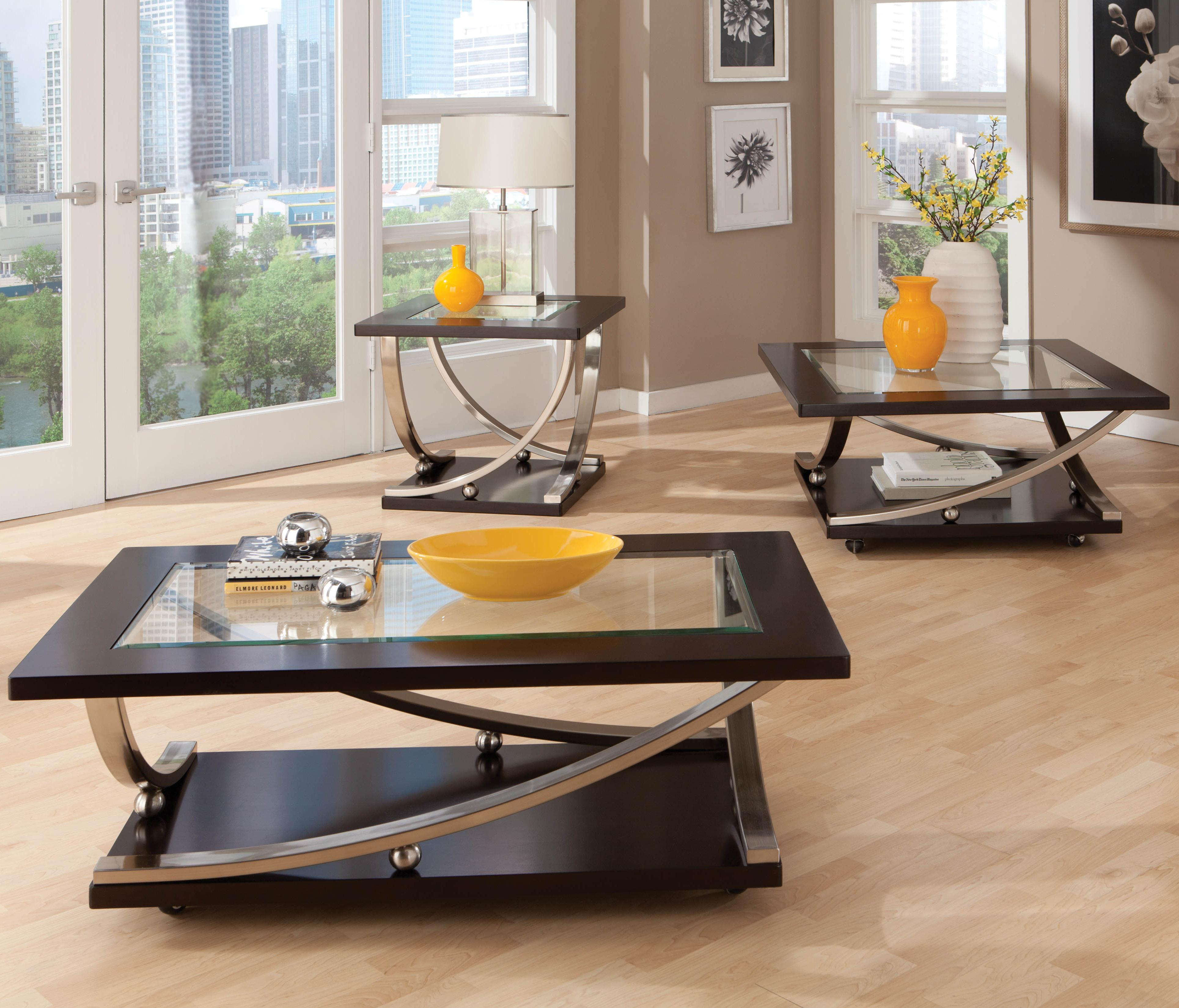 Glass Coffee Tables Furniture Village: Melrose Square Glass Top Cocktail Table With Casters By